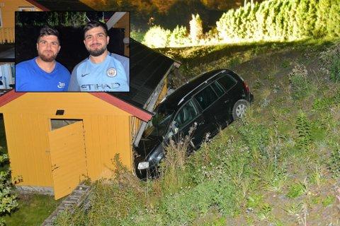 HØRTE ET SMELL: Brødrende Vazjwar og Vaver Matin Mustafa hørte et smell. Det viste seg at en bil hadde krasjet inn i garasjen deres.