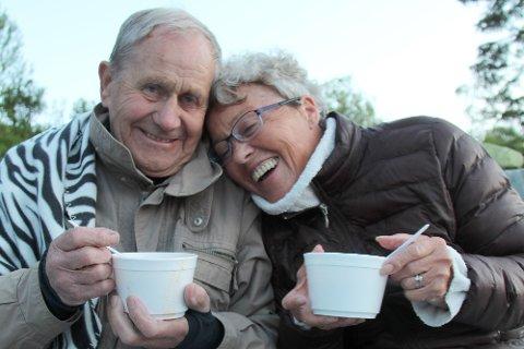 Leif og Aud Nilsen koste seg med hverandre, kjærlighetssuppe og fortellernatt.