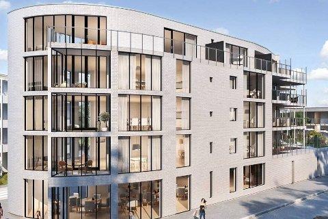 Straks byggestart: Ved påsketider er man i gang med utbyggingen. Leilighetene i det nye boligkomplekset er fra 55 til 127 kvadratmeter. Beboerne kan også se fram til en flott hage i 2. etasje, hvor det også er lite svømmebasseng.