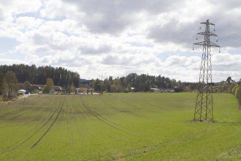 TIL BESVÆR: Kraftlinja over Loejordet i Vestfossen båndlegger en 32 meter bred korridor der det ikke kan bygges boliger.