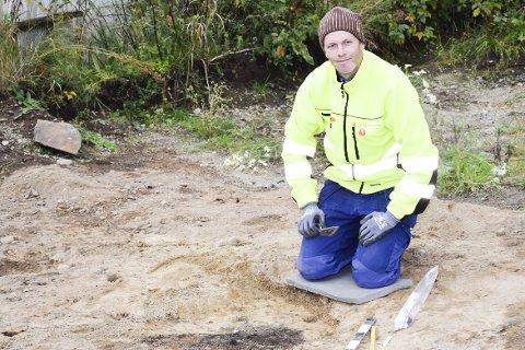 Utgraving på Nordbyhaugen: Det ble gjort et spesielt interessant funn på et område hvor det skal bygges en privat garasje.