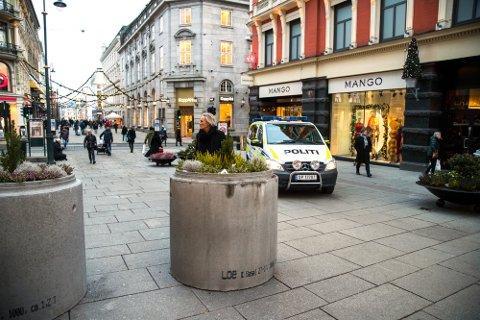 Karl Johansgate i Oslo. Terrorsikret med betongelementer fra Loe Betong.