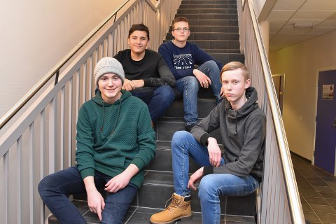 Thomas Kvarsnes-Nilsen (14), Talha Bahadir (14), Ludvik Stokes (15) og Sindre Baklid (14).