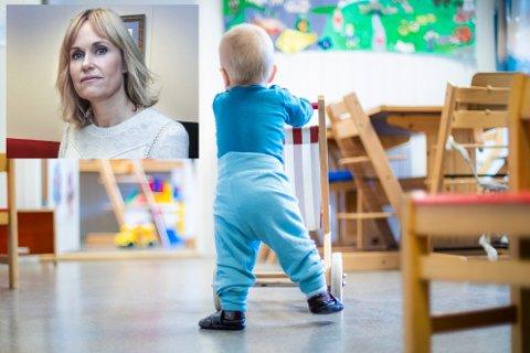 TILSKUDD: Utdanningsdirektoratet gir barnehagene Bingen og Barneplaneten i Øvre Eiker 1,2 mill. kroner som skal gå til å oppfylle nye bemanningskrav. Anne Lindboe, administrerende direktør i Private Barnehagers Landsforbund (innfelt) er glad for bidraget, men sier samtidig at flere barnehager er i økonomisk trøbbel.