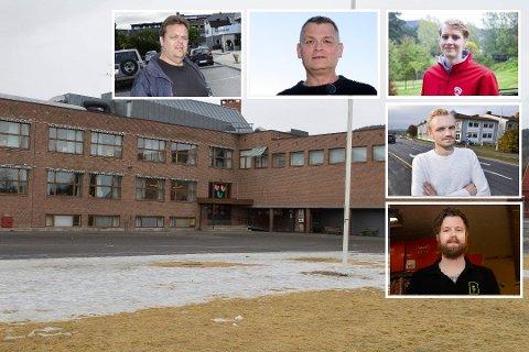 FLERTALL ER ENIG: Disse ønsker ny skole på Loesmoen. Det betyr enden på visa for Hokksund barneskole. F.v: Trond Bermingrud (Frp), Kjell Erland Grønbeck (KrF), Niclas Tokerud (Ap), Adrian Tollefsen (H) og Vegard Hustad (MDG).