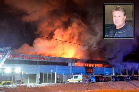 BRANNEN: Natt til 22. februar ble Bråtens Bilco i Hokksund rammen av brann. Det nærmer seg planer for gjenoppbygging, sier Bjørn Bråten.
