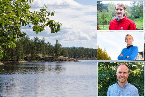IKKE SØKT: 136 kommuner har søkt om Klimasats-støtte. Øvre Eiker har ikke det. Fra toppen Niclas Tokerud (Ap), Adrian Tollefsen (H) og Andres Størdal (V).