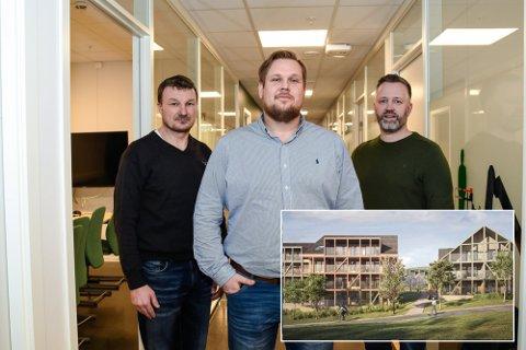 2022: Anleggsleder Jonny Flattum, avdelingsleder Håvard Dybendal og prosjektleder Rune Bromark skal sørge for at Klemskvartalet i Kongsberg skal stå ferdig i løpet av 2022..