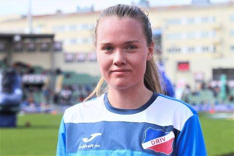 AVSLUTTET: Pia Haug var den som løp ankeretappen og fraktet stafettpinnen i mål for Driv idrettslag i Holmenkollstafetten.