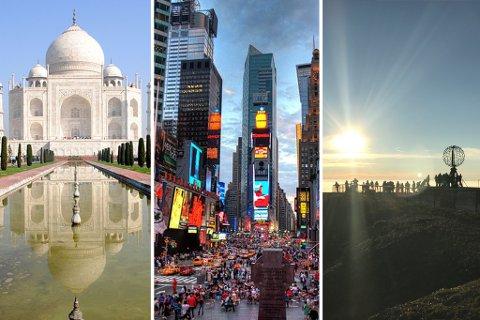 TURISTFELLER: Taj Mahal, Times Square og Nordkapp-platået er blant turistdestinasjonene som Abcnyheter lister som turistfeller. (Montasje: Wikimedia/Stine Serigstad)