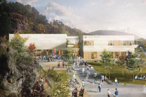 Skisse: til ny Eikefjord skule med fleirbrukshall. Illustrasjon