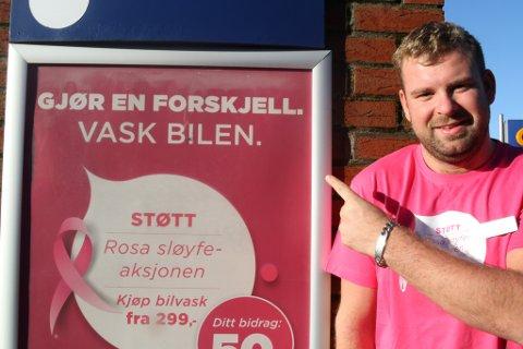 Circle K-stasjonen i Florø ligg best an i fylket under Rosa Sløyfe-aksjonen - 50 kroner frå kvar poleringsvask går til aksjonen. Ruben Solheim oppfordrar folk til å komme og vaske bilen og støtte aksjonen.