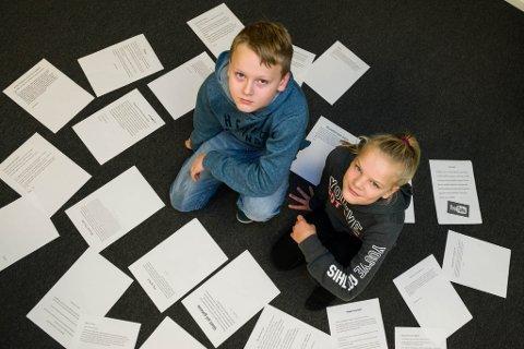 ENGASJERTE: 11-åringane Pia Klokke og Petter Muri er elevrådsrepresentantar i klasse 6C ved Florø barneskole. Dei troppa opp i Firdaposten-redaksjonen tysdag med sterke meiningar.