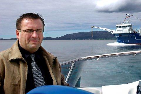 """OGSÅ REIAR: Ove Vilnes møtte her eit av sine nybygg """"Arctic Fjord"""". No fokuserer han på brønnbåt-utvikling."""