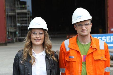 Marie Stensvoll, her med sin nye sjef Mikael Johansen på verftet.