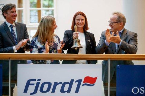 Frå venstre styreleiar Vegard Sævik, styremedlem Frederik Wilhelm Mohn, økonomileiar Ane Eliassen, finans- og økonomidreiktør Anne Mari Sundal Bøe, og adm. direktør i Fjord1 Dagfinn Neteland.