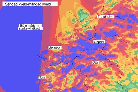 Sterk vind er venta søndag og måndag. Dei blå feltene er mest utsett. Illustrasjon: Met.no