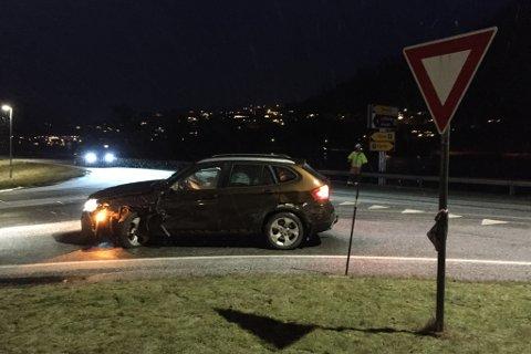 Eine involverte bilen i ulykka tysdag morgon.
