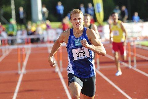 NM Friidrett 2014. 400 m. hekk var Øyvind S. Kjerpeset i en klasse for seg med vinnertiden 51.21. Dette er fire aar sidan, og no er han tilbake.  Foto: Vidar Ruud / NTB scanpix