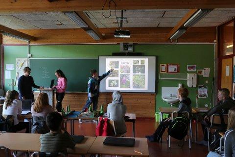 Her får klassen ein presentasjon av den kartlagde floraen ved Storelva på Indrehus.