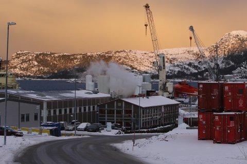 RØYKUTVIKLING: Alle tilsette på Fjord Base vart evakuerte etter røykutvikling og utslepp av salpetersyre torsdag.