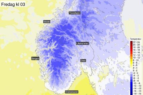 Det blir kalde temperaturar i Norge natt til fredag, melder Meteorologisk institutt på Twitter.