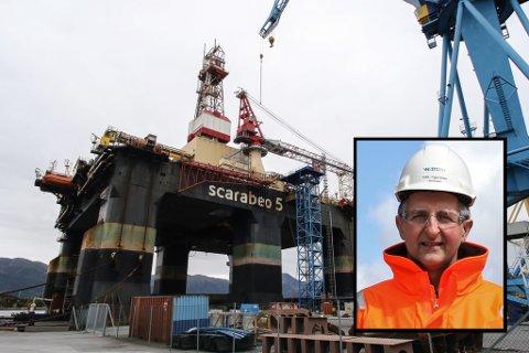 SCARABEO 5: Semiriggen til Saipem har ligge i opplag i Florø sidan juli 2017, men no skal den ut på feltet att. Men ikkje før Westcon har sett den i skikkeleg stand att, seier verftsdirektør Trygve Solaas.