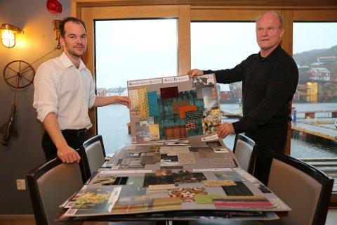Jan Fredrik og Svein Inge Fosse viser fram korleis kvart enkelt hotellrom er tenkt forskjellig innreia og tilpassa historiske personar i lokalmiljøet.