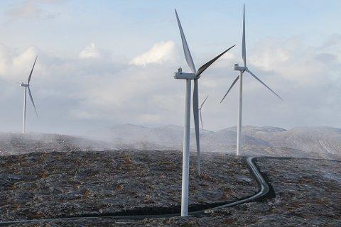 Ruver godt i landskapet når en kjem tett på.90 meter opp til senter på mølla og ein rotordiameter på heile 136 meter.