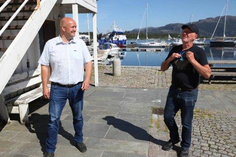 I PARTNARSKAP: Anders Nødseth (t.v.) og investeringsselskapet Semi AS går saman med Sverre Stenbakk for å få bygt det nye Trovikbygget i Strandgata i Florø.