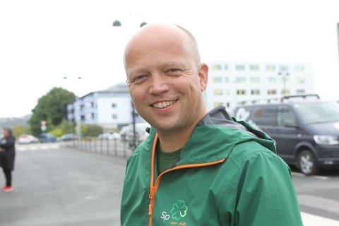 I FLORØ: Partileiar i Senterpartiet, Trygve Slagsvold Vedum var i dag på besøk i Florø.