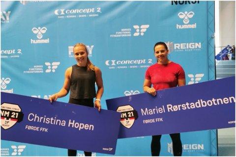 NORGESMEISTERSKAP: Christina Hopen og Mariel Rørstadbotnen reiste saman til NM i Functional fitness. – Det var veldig kjekt å vere med, og vi har med oss masse ny konkurranseerfaring.