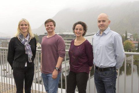 Motiverte nykommarar: Frå venstre: Gunn Merete Paulsen (V), Reidar Nordhaug (Ap), Simone Maria Van de Paal Wiezer (H) og Rune Hegrenes (Sp). Foto: Cecilie Brendehaug Rysjedal