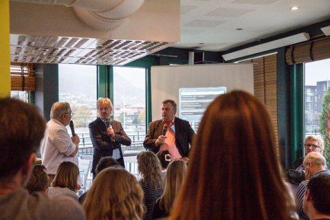 Eldgrim Fossheim, Torry Pedersen og Atle Hamar under debatten på Pikant.