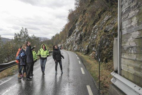 Fv 609 ved Heilevang mellom Førde og Askvoll er eit av skredpunkta. Her er Anne Marie Mandelid, Sveinung Rotevatn, Jenny Følling og Jorunn Eide Kirketeig.