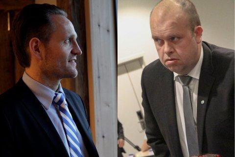STRID: Sps Sigurd Reksnes (t.h.) og bank-konsernsjef Jan Erik Kjerpeseth kranglar om Fjord1. Arkivfoto.