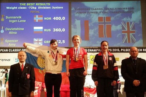 Inger-Lene Sunnarvik, i midten, kunne juble over gull i alle disiplinar i EM. Inkludert samanlagt.