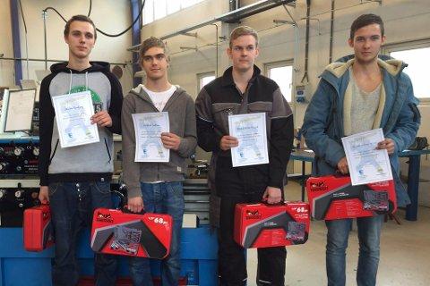 Desse vann i tevlinga på Øyrane. Christer Rambjørg (sveis vg2), Kristian Tonheim (maskinering), Chris Andrian Kalvøy Steinsvik (industrimekanikar) og Håvard André Hundvik (sveis vg1)