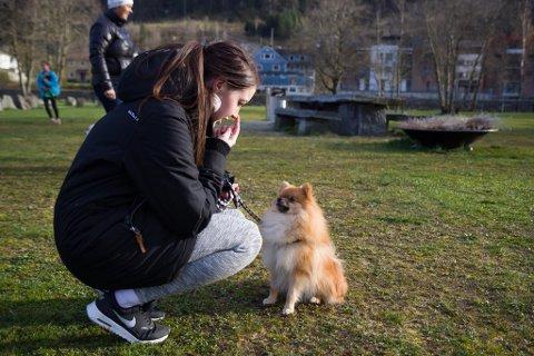 Tone Refvik (20) og kleinspitzen Theo (1 år) er flittige på hundetrening om måndagen. Refvik meiner at det er veldig viktig at hundane får trening i å omgåst både andre hundar, folk og støyande omgjevnader.