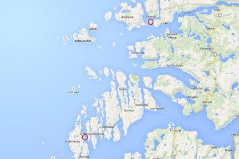 BRU FOR FERJE: Her skal dei to ferjeavløysingssambanda etter planen kome: Atløysambandet i nord, Ytre Steinsund i Solund i sør.