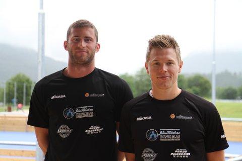 Hendrik Mol (t.v.) og Lars Fredrik Tvinde vann helgas Kristiansand Open i sandvolleyball.