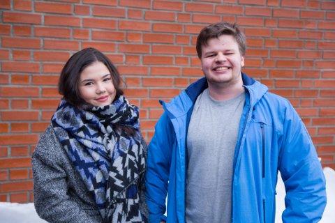 Silje Viktoria Gravdal Vallestad (17) (t.v.) og Reidar Fugle Nordhaug (18) går begge på Hafstad vidaregåande skule.
