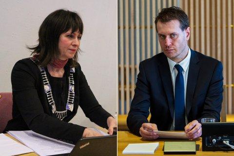 SJELDSYNT OMTANKE: Jenny Følling (Sp) er måteleg begeistra over å få trøyst og støtte frå Helge André Njåstad (Frp).