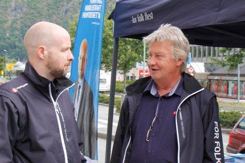 Bildet er frå valkampopninga i 2013. Frank Willy Djuvik (t.v.) og Lars-Svein Drabløs