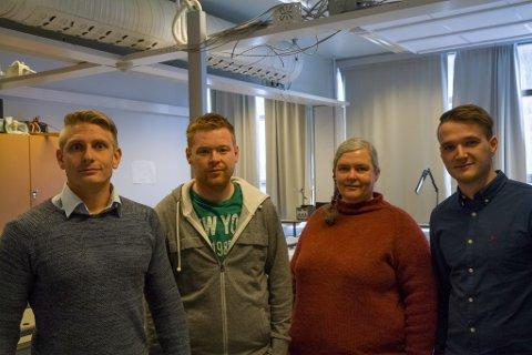F.v. Morten Jensen Sefland, Håvard Nordtveit, Siw Tove Vårdal og Benjamin Dokken. Alle på Automatiseringsteknikk, unntatt Vårdal frå Elkraft.