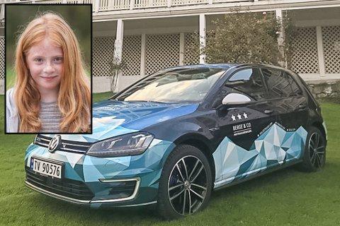 "VINNAR: Amalie Haugsbø Ness (11) vann ""motbakkebil""."