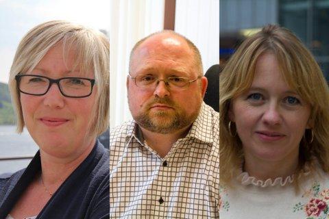 HAFS-ORDFØRARAR: F.v. Askvolls Frida Melvær (H), Hyllestads Morten Askvik (Sp) og Fjaler-ordførar Gunnhild Berge Stang (V).