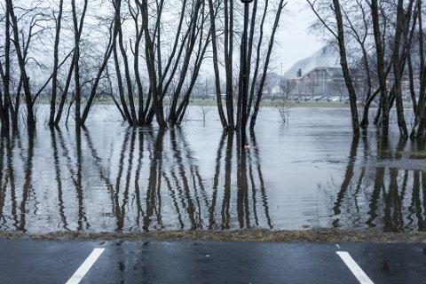 Høgt, men ikkje faretrugande høgt vatn ved Hafstadparken og Førdehuset.