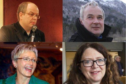 KJEMPAR OM PLASS: Aps Hilmar Høl (oppe t.v.), Steinar Ness (Sp), Ingrid Heggø (Ap) og Sps Liv Signe Navarsete (nede t.v.)