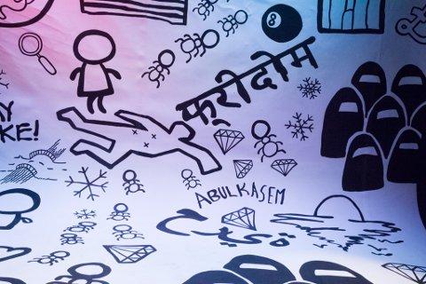 """På arabisk og nepalesisk har nokon skreve ordet """"fridom""""."""